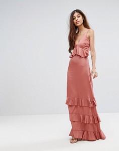 Платье макси с кружевными вставками и оборками Y.A.S Studio - Розовый