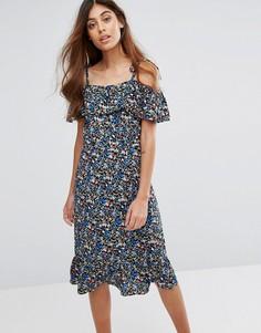 Платье миди с цветочным принтом Trollied Dolly - Черный