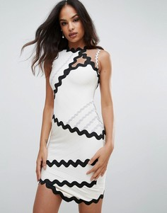 Бандажное платье с контрастной фигурной отделкой Forever Unique - Белый