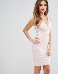 Облегающее платье с вышивкой Lipsy - Розовый