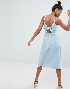 Платье миди с завязкой Monki - Синий