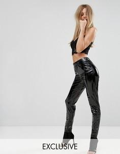 Блестящие виниловые брюки зауженного кроя Parallel Lines - Черный