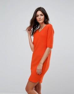 Платье с V-образным вырезом b.Young - Оранжевый
