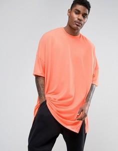 Оранжевая супердлинная oversize-футболка с эффектом кислотной стирки ASOS - Оранжевый