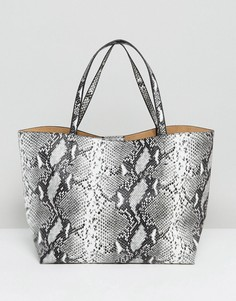 Серая сумка-тоут с эффектом змеиной кожи Glamorous - Мульти
