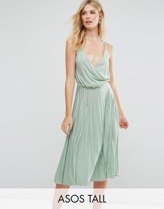 Плиссированное платье миди с запахом ASOS TALL - Зеленый