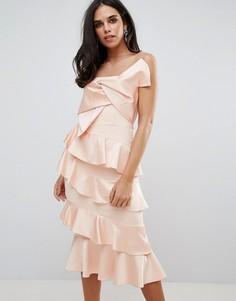 Платье миди с оборкой и бантом Forever Unique - Розовый