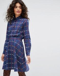 Поплиновое платье с принтом и английской булавкой Sonia By Sonia Rykiel - Синий