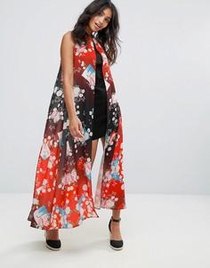 Платье-футляр с накладками с цветочным принтом Liquorish - Черный