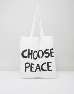 Парусиновая сумка-тоут с принтом Choose Peace Monki - Кремовый
