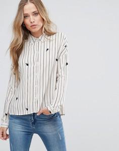 Рубашка в полоску с принтом китов Only Zafran - Бежевый