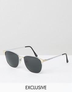 Квадратные металлические солнцезащитные очки серебристого цвета Reclaimed Vintage - Серебряный