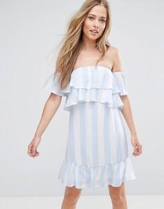 Платье в полоску с открытыми плечами Parisian - Синий