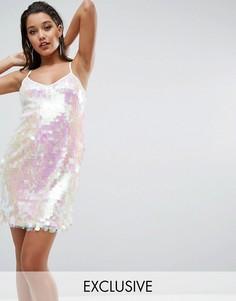 Платье мини с отделкой пайетками NaaNaa - Белый