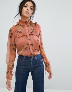 Шифоновая рубашка с цветочным принтом и оборками Gestuz - Мульти