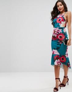 Платье миди с цветочным принтом и баской ASOS - Мульти