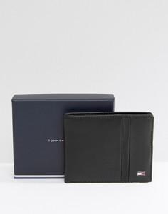 Черный маленький кожаный кошелек с логотипом Tommy Hilfiger - Черный