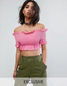 Присборенный топ с открытыми плечами и оборками Milk It Vintage - Розовый
