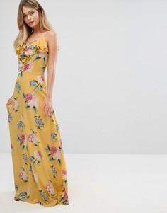 Платье макси с цветочным принтом и рюшами New Look - Желтый