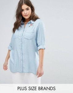 Рубашка с цветочной вышивкой Koko - Синий