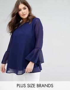 Темно-синяя блузка с рукавами клеш и вышивкой Koko - Темно-синий