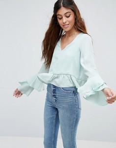 Блузка с рюшами на рукавах ASOS - Зеленый