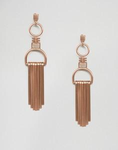 Золотисто-розовые серьги-подвески с кисточкой Pilgrim - Золотой