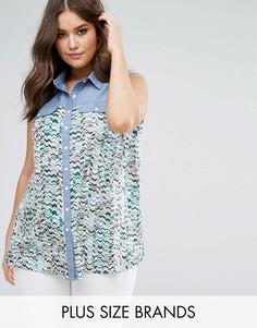 Контрастная джинсовая рубашка с шевронным принтом Koko - Мульти