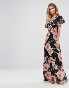 Платье макси со шнуровкой и цветочным принтом New Look - Черный