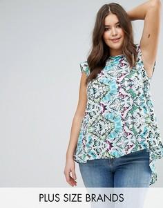 Блузка с принтом и асимметричным подолом Koko Green - Мульти