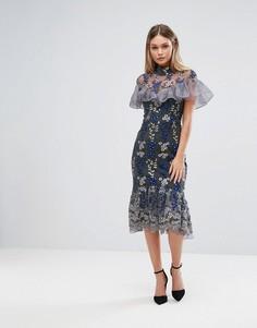 Платье миди с вышивкой и рюшами Three Floor - Темно-синий