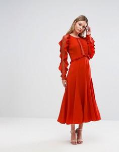Платье миди с длинными рукавами и оборками Three Floor - Красный