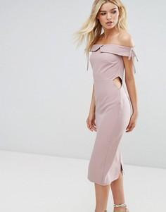 Платье-футляр миди с открытыми плечами Oh My Love - Розовый