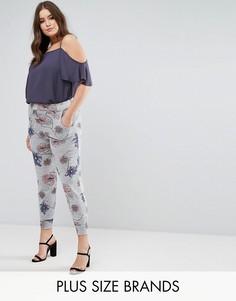 Серые трикотажные брюки с цветочным принтом и эластичным поясом Koko - Мульти