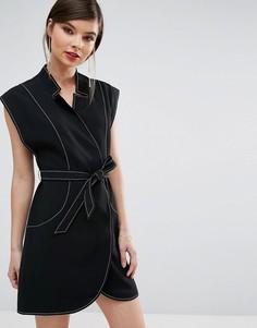 Платье мини с запахом C/Meo Collective - Черный