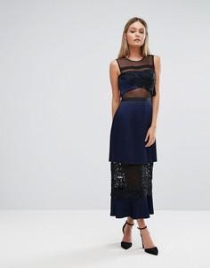 Двухъярусное платье миди с кружевными вставками Three Floor - Темно-синий