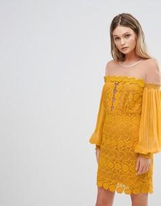 Кружевное платье мини с рукавами клеш Three Floor - Желтый