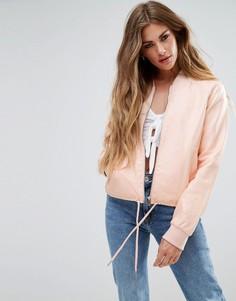 Блестящий бомбер из полиуретана Noisy May - Розовый