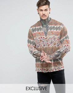 Рубашка без застежки с принтом пейсли Reclaimed Vintage Inspired - Светло-серый