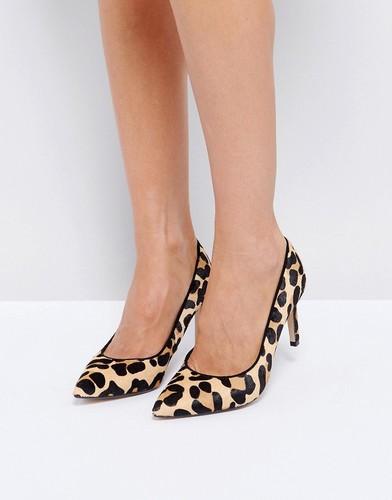 Туфли на каблуке с заостренным носком и леопардовым принтом Dune - Коричневый