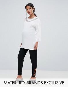Суженные книзу брюки с отделкой Bluebelle Maternity - Черный