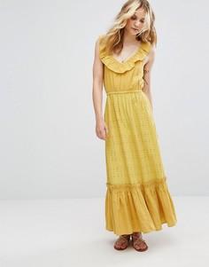 Ярусное платье макси Moon River - Желтый