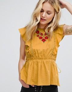 Топ без рукавов с вышивкой и оборками Moon River - Желтый
