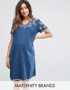 Платье с вышивкой Mamalicious - Темно-синий Mama.Licious
