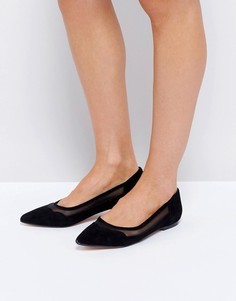 Замшевые туфли на плоской подошве с фигурной отделкой Dune - Черный