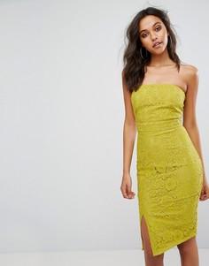 Кружевное платье-бандо миди с асимметричной оборкой Missguided - Желтый