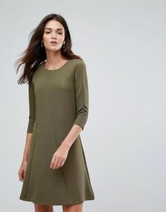 Приталенное платье с рукавами 3/4 Vila - Зеленый