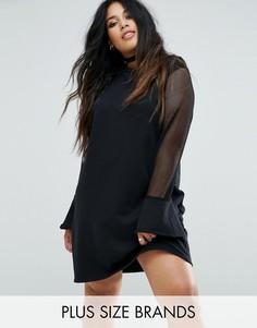 Платье-джемпер с сетчатыми рукавами Pink Clove - Черный