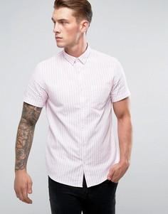 Бело-розовая рубашка классического кроя в полоску New Look - Розовый