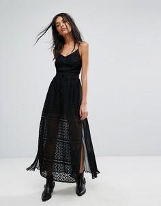 Кружевное платье макси AllSaints Alsen - Черный